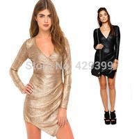 Fashion deep V-neck sexy elastic slim hip gold shiny metal dress one-piece dress gloss
