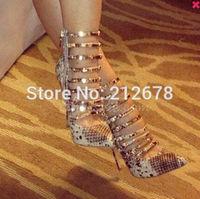Elegant Snake Skin Ankle Strap High Heel Sandals