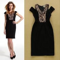 Hot Selling New 2015 High Quality Women's Golden Paillette Off the shoulder Elegant OL Dress Career Dress  F16772