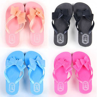 Women Platform Mid Heel Flip Flops Beach Sandals Bowknot Slipper Shoes Summer