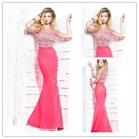 Elegant Scoop Neckline Mermaid Evening Dresses With Sleeves For Tall Women 2014 New Arrival vestido de renda