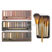 4set/lot wholesale NEW NAKE 3 Makeup brushes set and NAKE 1 2 3 eyeshadow palettes NK 1 2 3 eye shadow makeup set