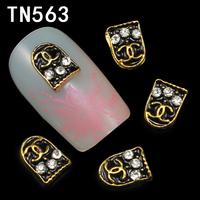 10 Pcs/Pack Bronze Black LOGO Letters C 3D Nail Art Decorations Glitters DIY Nail Tools Nails Studs