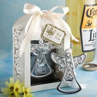 Wholesale 100pcs/Lot bridal shower favor angel bottle opener wedding party supplies christening gifts