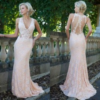 Sexy V Neck Mermaid Prom Dresses Lace vestidos formatura 2015 longos See Through Long Evening Party Gowns