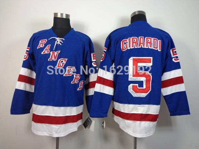 2014 Stanley Cup New York Rangers Girardi Jerseys #5 Dan Girardi Jersey Royal Blue White 85th Navy NY Authentic Hockey Cheap(China (Mainland))