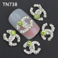 10Pcs Silver Light Green Dot Letters Nail Tools Clear Rhinestones For Alloy Nails Glitters DIY 3D Nail Art Decorations TN738