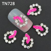 10Pcs Silver Rose Red Nail Tools Rhinestones For Nails Alloy Glitters DIY 3D Nail Art Decorations TN728