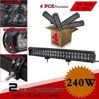 """4pcs 23"""" 240W Lens LED Light Bar SPOT COMBO 12V 24V IP67 LED Bar For Offroad 4x4 ATV Fog Light Led Worklight Seckill 120W 180W"""