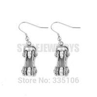 Free Shipping! Silver Bicycle Chain Earrings Stainless Steel Jewelry Bling White Rhinestone Motorcycles Biker Earring SJE370119