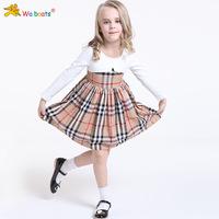 Brand baby  dress autumn spring Children Girl's Fashion Apparel 3-8Age Kids dress party princess girls' dresses plaid Cotton