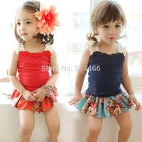 Summer Sleeveless T-shirt for Girls Lace Tees for Kids Korean Style Children Vest