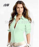 Good Quality! 2015 new brand shirt 100% cotton fashion casual shirt long-sleeved women dress shirt Free Shipping small logo 7027