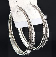 Fashion Hot Sale 3 rows Silver Frosted Zebra Printed Big Hoop Earrings for Womens Bridal Party Jewelry B1058