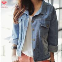 New 2015 Spring Autumn Turn-down Collar Long Sleeve Ladies Denim Jackets Sky Blue Short Jeans Jacket Women Coat Casacos J19091S