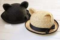 Free shipping(6 pieces/pack) Hot sale! For Kids Cat ear 100% natural straw hat 48cm /sun hat/beach hat