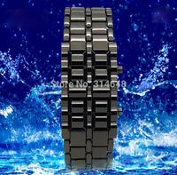 30m Waterproof Lava Style LED Red Light Digit Stainless Steel Bracelet Watch