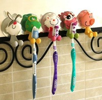 Hot Sale cute Cartoon sucker tooth brush holder suction hooks Free shipping