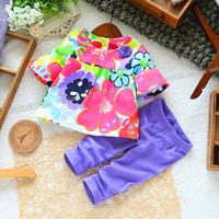 Retail new 2015 summer girls t-shirt + purple legging clothing set kids floral cothes sets children's 2pcs suits WW01140006J