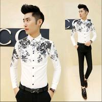 2015 New Korean Fashion Mens Floral Shirt Casual Slim Fit Men Long Sleeve Shirt Mens Dress Shirts Black White,M-XXL,6 Styles