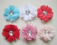 Wholesale Chiffon Flower Soft Fabric Rhinestone Flowers DIY for Headbands