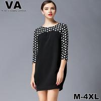 women 2015 spring Cute Novelty Casual Patchwork Black Mini O-Neck Dot Office Work vestido plus size Dresses xxxl 4XL 5XL W