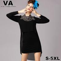 brand high quality women 2015 spring Casual Black Mini O-Neck Beading Cute Full Sleeve Dresses vestido plus size xxxl 4XL 5XL P
