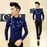2015 New Korean Fashion Bird Mens Shirt Casual Slim Fit Men Long Sleeve Shirt Mens Dress Shirts Black White,M-XXL,Free Shipping