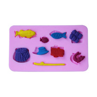DIY Silicone mold cake tools biscuit mold fishing set fondant cake decorating tools biscuit mold cookies mold kitchen accessorie