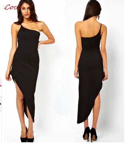 Sexy Europe Chiffon Inclined Shoulder Dress Summer Temperament Asymmetric Single Shoulder Club Wear Clothing For Woman(China (Mainland))