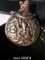 BYH001  Nepal Fork handicraft Big Snuff Bottle The old God of longevity Tibetan Antiqued Brass Crafts Decor box