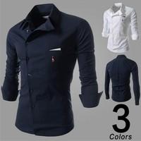 2015 Top selling men shirts bussiness Cassual long Fashion brand man shirt slim fit men Embroidery deer shirts