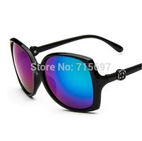 2015 New arrival Fashion Women/female Flower Decorative Sunglasses Big Frame Oversized Sun Glasses Reflective Mirror Lens