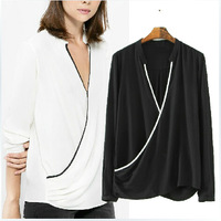 2015 Spring Brand New Ladies Black White Patchwork Blouses Long Sleeve V Neck Cross Shirt Plus Size Loose Casual Blusa tops c547