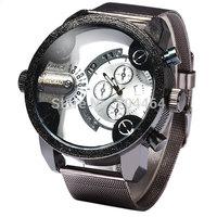 Shiweibao A3130 Male Quartz Watch Dual Display Steel Net Band Round Dial