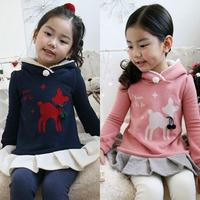 2015 autumn and winter girls clothing children fleece with a hood sweatshirt outerwear hoodies for girls