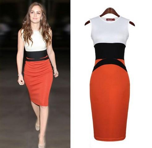 The 2014 autumn fashion hip package knitting dress tank dress color matching dress M2(China (Mainland))