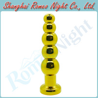 Golden Beads Metal Stopper Smooth Touch Anal Toys Butt Plug, Adult Sex Toys Sex Products