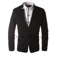 Men Vintage Slim Stitching Leather Blazers New Fashion Mens Fitted Slim Blazer Casual Suit M-XXL