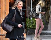 B fashion knitted fashion sheepskin genuine leather women's handbag one shoulder handbag women's bags dumplings bag