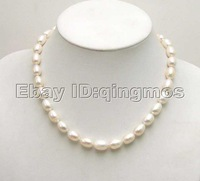 "SALE Big 9-10MM Rice White Natural Freshwater PEARL 17"" NECKLACE-5349 whole sale and retail Free shipping"