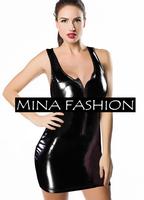 Black Shiny PVC Catsuit Dress 50 Shades FETISH BONDAGE HEN PARTY Costume wf-3011
