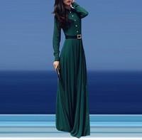 2015 new  fashion Green Colour Elegant Women Long Dress Stand Collar Long Sleeve Maxi Dresses With Belt Vestido Longo
