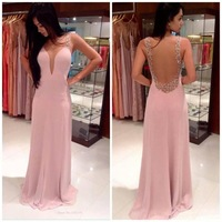 Solid color women sexy evening dress deep v neck back transparent long chiffon dress  for women wedding/party