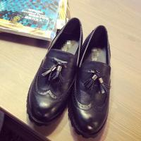 Women Shoes 2015 New British style Round Toe Tassel Women Flats Thick Heel Black Solid Shoes Women sapatos femininos G11