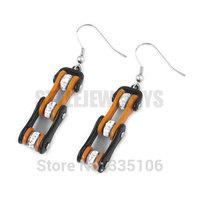 Free Shipping! Orange & Black Bicycle Motor Earrings Stainless Steel Jewelry Rhinestone Motorcycles Biker Earring SJE370126L