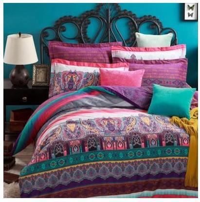 Pink Purple Blue Green Paisley Bedding Bedsheets Sets King
