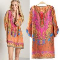 New women's Casual Dress  European style streamer printed short-sleeved dress 9044