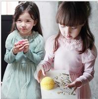 2015  Spring Wholesale 5pc/lot Fashion Long Sleeve Ruffle Collar Mesh Gauze Children Tulle Dress Blue Pink
