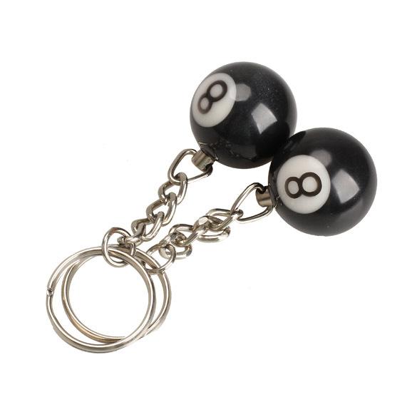 New Fashion 2pcs Billiard Pool Keychain Snooker Table Ball Key Ring Gift Lucky NO.8 NIVE(China (Mainland))